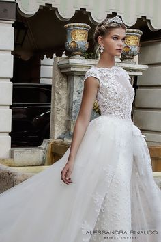 Alessandra Rinaudo 2017 bridal cap sleeves boat neckline lace embellished bodice romantic sheath wedding dress ball gown a  line train lace back long train (bibi) zv #princess #romantic #wedding #bridal #weddingdress