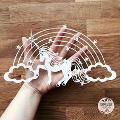 Unicorn Rainbow SVG / PDF Design - Papercutting Vinyl Template - paper cut template - princess papercut - kids svg