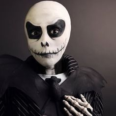 This terrifying Jack Skellington paint job. | 25 Chilling Tim Burton Costumes You Should Try This Halloween