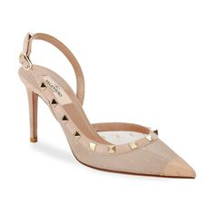 Valentino Rockstud 85mm Pizzo Pois Slingback Pumps. #valentino #nudeshoes #pumps #heels Slingback Pump, Valentino Garavani, Pumps, Heels, Dust Bag, Brand New, This Or That Questions, Pink, Bags