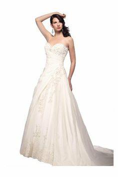 Winey Bridal Appliques Sweatheart Floor Length Sweep Train Wedding Dresses Ivory