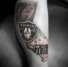 40 Oakland Raiders Tattoos For Men - Football Ink Design Ideas Diva Nails diva nails oakland Leg Tattoo Men, Leg Tattoos, Sleeve Tattoos, Tattoos For Guys, Evil Tattoos, Tattoos Pics, Tatoos, Raiders Tattoos, Raiders Nails