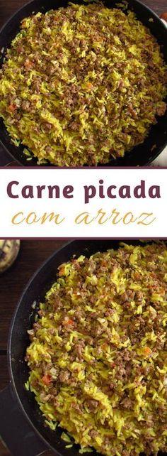 Carne picada com arroz | Food From Portugal. Quer uma receita rápida para preparar para os seus amigos? Esta receita de carne picada com arroz é perfeita para si! É simples, saborosa e todos vão adorar… #receita #arroz #carne