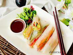 Blog de cuina de la dolorss: Rollitos de primavera con aguacate, salmón y salsa agridulce