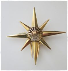 Vintage Art Deco Star Shaped 18 Karat Gold Brooch by boubelina2, $417.00
