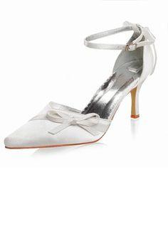 Satin Talon aiguille Bout fermé Escarpins Chaussure de Mariage avec Nœud papillon Boucle Strass (047005112)