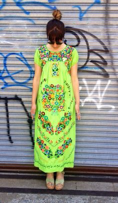 Vintage Mexican Embroidered Lime Green Maxi by DeLaMerBoutique