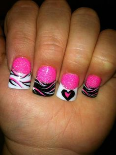 Zebra nails ♥ minus the heart!!