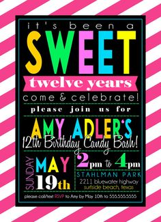 Custom Candy Theme Birthday Party Invitation by SayItLoudDesigns, $12.00