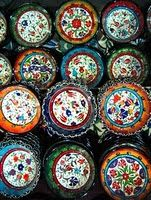 Colorful Turkish bowls in Istanbul bazaar.