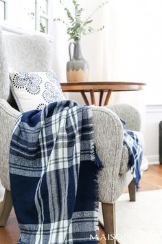 plaid blanket scarf acts as a perfect chair throw for fall #falldecor