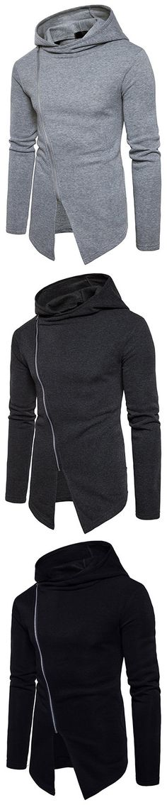 US$25.56 Mens Stylish Zipper Design Hoodies Brief Solid Color Fall Winter Casual Hooded Tops