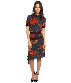 Jean Paul Gaultier Needlepoint Tulle Asymmetric Dress With Fringe
