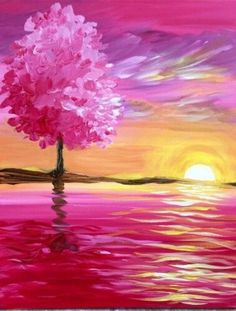 Sunset View Painting Easy Acrylic Painting Ideas On Canvas Easy Acrylic Painting Ideas Easy Painting Ideas For Beginners Simple Painting Ideas Very Easy Painting Ideas For Kids Easy Canvas Painting, Simple Acrylic Paintings, Easy Paintings, Canvas Art, Beginner Painting, Tree Art, Belle Photo, Painting Inspiration, Watercolor Paintings