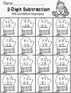 subtraction--winter theme-FREE math for second grade Fun Math, Math Activities, Math Resources, Maths, Free Math Worksheets, Christmas Math Worksheets, 2nd Grade Math Worksheets, Math Subtraction, Second Grade Math