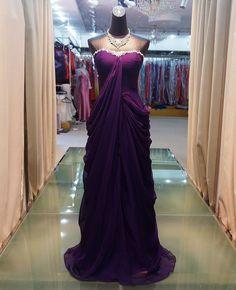 2012 nieuwe druif kleur strapless elegante avondjurken