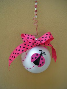 Personalized Ladybug Ornament  - Babys Birth or Birthday or Christmas - Hand Painted Glass Ball Ornament. $13.75, via Etsy.