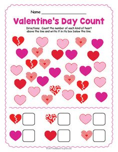 Count up the different colored hearts and then write the tally in the correct box on this cute printable Valentine's Day worksheet. Valentines Day Songs, Valentine Theme, Valentine Day Crafts, Printable Valentine, Homemade Valentines, Valentine Box, Valentine Wreath, Valentine Ideas, Free Printable