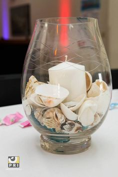Simple seashell candle centerpiece