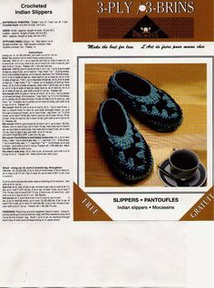 slippers for children - I want a pair like this!  Pattern on http://www.woolneedlework.com/Free_Pattern/crochet_slipper.htm
