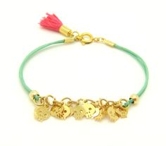 Tiny Skull Bracelet  Pastel Mint Leather