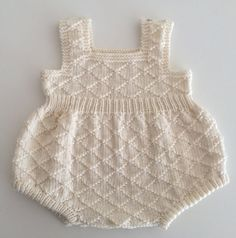 Ready to ship hand knitted baby boy girl merino wool romper playsuit in sizes 3 to 6 mths Knitting For Kids, Baby Knitting Patterns, Crochet For Kids, Baby Patterns, Crochet Baby, Hand Knitting, Knitted Baby, One Piece Clothing, Rompers For Kids