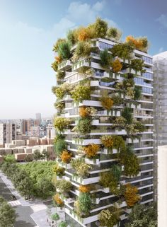 Image 1 of 19 from gallery of Stefano Boeri Architetti Creates a Vertical Forest for Tirana 2030 Master Plan. Photograph by Stefano Boeri Architetti Australian Architecture, Green Architecture, Amazing Architecture, Architecture Design, Contemporary Architecture, Green Facade, Green Corridor, Vertical Forest, Vertical City
