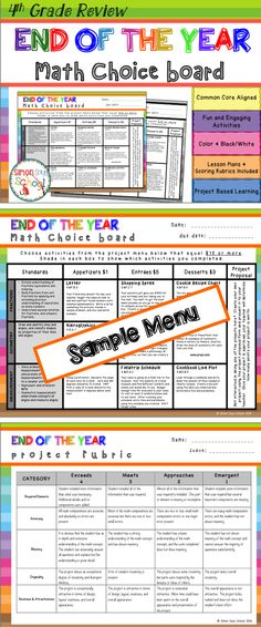 4th Grade End of the Year Math Review Choice Board - This math review menu project choice board is an amazing differentiation tool that not only empowers students through choice but also meets their individual needs. At the same time, students are able to show their understanding of 4th grade math concepts at a variety of TOK levels. This board contains three leveled activities for each domain: appetizer, entrée, and dessert.
