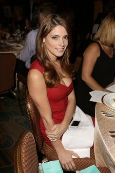 Ashley Greene in a red dress