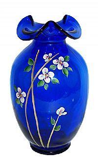 Fenton Art Glass - 9-1/2'' Fenton Gift Shop Preferred Second Handpainted Cobalt Vase