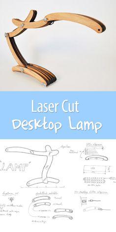 Laser cutter + bright white LED strips = a super cool modern desk lamp.