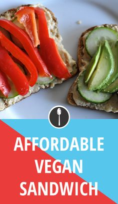 Open-faced homemade hummus and veggie sandwich is the easiest vegan lunch. Make it ahead of time as an fast and healthy on-the-go option.