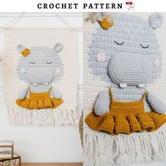 Crochet wall hanging pattern with hippo. Nursery hippo wall | Etsy Crochet Sheep, Crochet Dinosaur, Crochet Unicorn, Cotton Crochet Patterns, Crochet Cat Pattern, Crochet Wall Art, Crochet Wall Hangings, Room Tapestry, Baby Room Diy