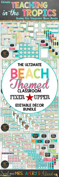 If you are SURFING for the complete ocean themed classroom decor bundle full of EDITABLE printables to welcome your students back to school, click here to check this editable beach themed resource out!