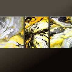 3PC Abstract Art Print Set Yellow Black & White 11x14 by wostudios