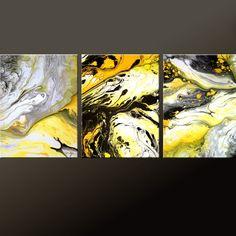 3PC Abstract Art Print Set Yellow Black & White 11x14 by wostudios