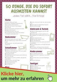Beginne sofort mit dem Ausmisten. Hier ist eine Liste mit 50 Dingen, von denen du dich noch heute trennen kannst. #haushaltsfee #haushalt #ausmisten #küche
