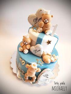 Teddy bears cake - cake by Michaela Hybska Baby Boy Cake Topper, Baby Boy Cakes, Cakes For Boys, Baby Shower Cakes, Teddy Bear Cakes, Teddy Bears, Teddy Bear Birthday, Teddy Bear Baby Shower, Little Cakes