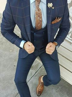 The Blue Suit Collection Mens Tailored Suits, Mens Suits, Checkered Suit, Plaid Suit, Business Casual Outfits For Work, Business Style, Boys Wedding Suits, Wedding Wear, Blazer Outfits Men