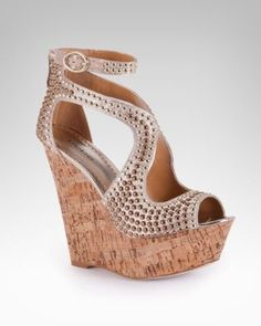 bebe Caitlyn studded wedge sandals in natural. These look sooooo cute! I don't know if I can walk in these outside though. Wedge Sandals, Wedge Shoes, Shoes Sandals, Sexy Sandals, High Shoes, Flats, Toe Shoes, Crazy Shoes, Me Too Shoes