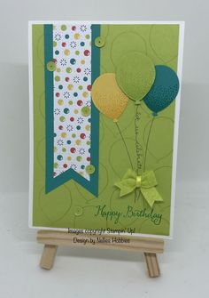 Lemon Lime Twist balloon birthday card #stampinup