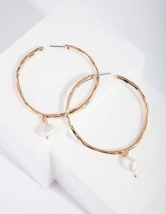 Gorgeous sparkly 6cm silver tone white bead /& diamante hoop earrings *NEW*  #2