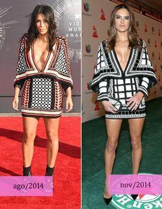 Kim e Alessandra usam modelito parecido (Foto: Getty Images)