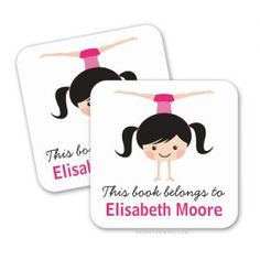 These customizable bookplate stickers / book labels featuring a little girl doing a handstand are perfect for little gymnastics loving girls. Great for labelling school books. Available in two sizes from Zazzle.