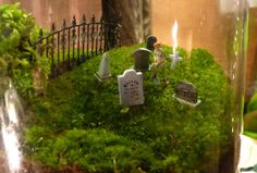 A moss cemetery in a terrarium - perfect for a genealogist. :) (Made by http://twigterrariums.com/)