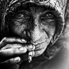 Black and White Portraits of Homeless People by Manchester-based, safe-taught photographer Lee Jeffries