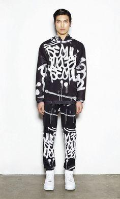 """SEOUL"" graffiti in the KYE F/W '13 lookbook - Korean fashion"