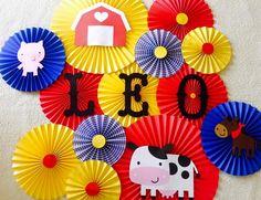 Farm Barnyard Themed Paper Rosette Backdrop- Set of Farm Birthday, Farm Baby Shower, Farm Animal Backdrop, Primary Color, Barnyard Party by (Diy Paper Rosettes) Farm Animal Party, Farm Animal Birthday, Barnyard Party, Farm Birthday, Farm Party, Birthday Ideas, Ideas Bautizo, Farm Backdrop, Paper Rosettes