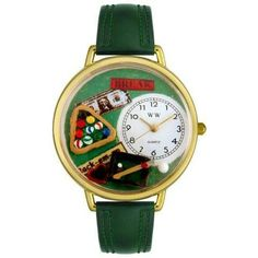 Whimsical Unisex Billiards Hunter Green Leather Watch