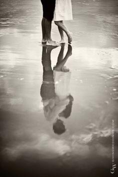 Beach couple reflection...